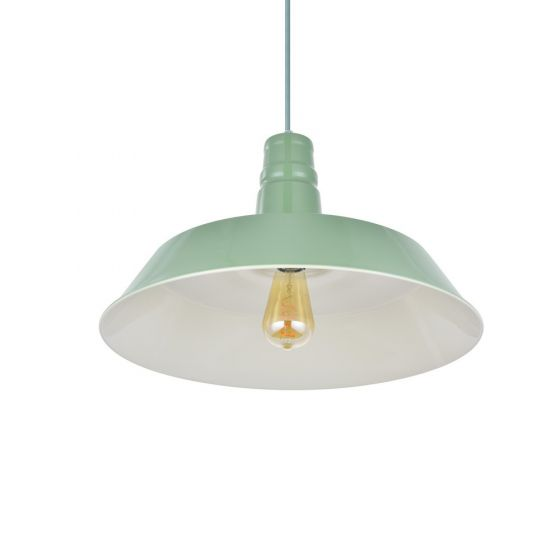 Argyll Industrial Pendant Light Chalk Green
