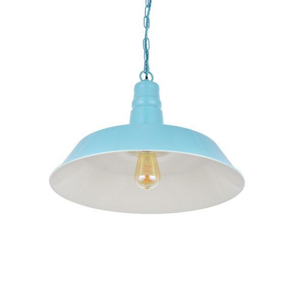 Argyll Industrial Pendant Light Duck Egg Blue