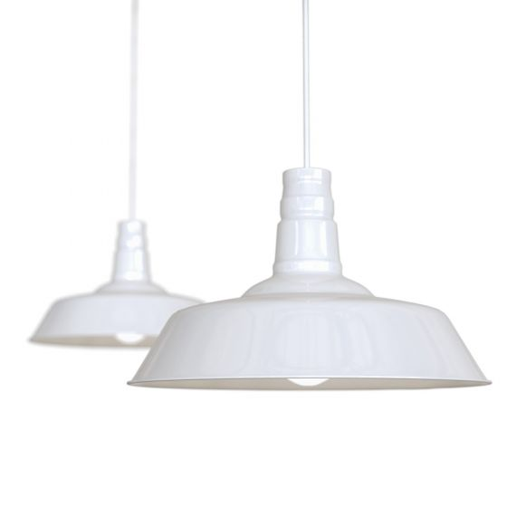 Pure White Industrial Breakfast Bar Pendant Light - Argyll - Soho Lighting