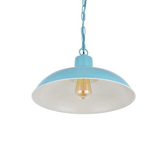 Portland Reclaimed Style Industrial Pendant Light Duck Egg Blue