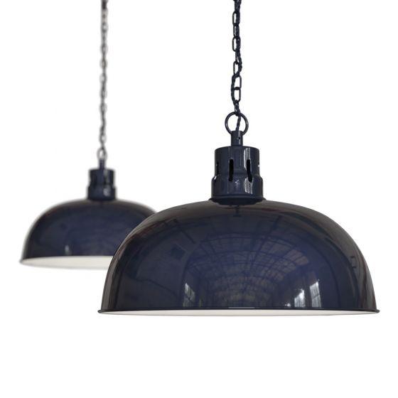 Squid Ink Navy Blue Rustic Dome Dining Room Pendant Light - Berwick - Soho Lighting