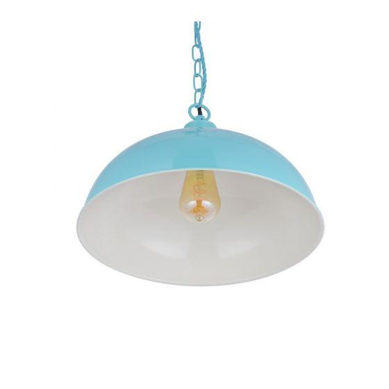 Berwick Rustic Dome Pendant Light Duck Egg Blue