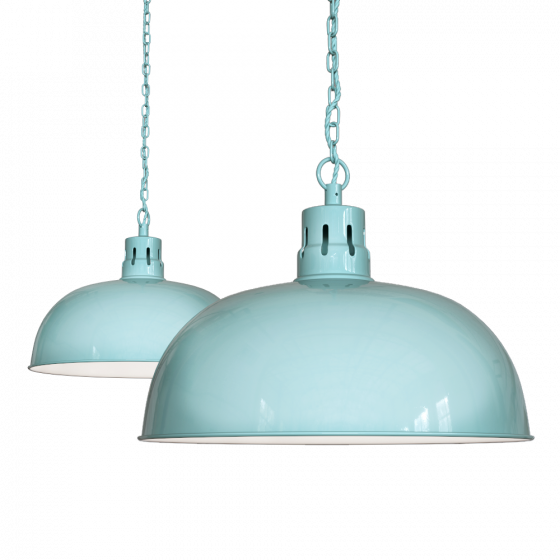 Duck Egg Blue Turquoise Rustic Dome Dining Room Pendant Light - Berwick - Soho Lighting