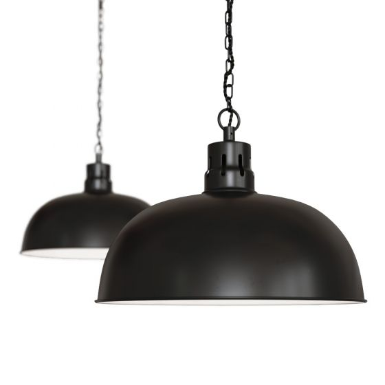 Matt Black Rustic Dome Dining Room Pendant Light - Berwick - Soho Lighting