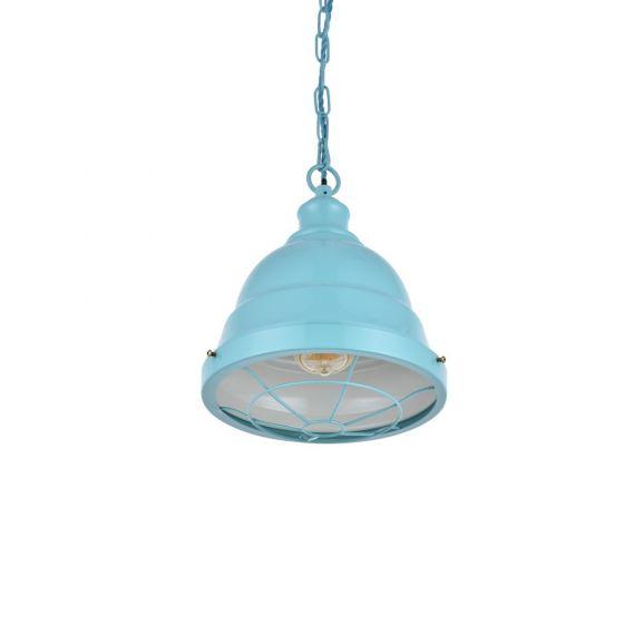 Ganton Vintage Cage Pendant Light Duck Egg Blue