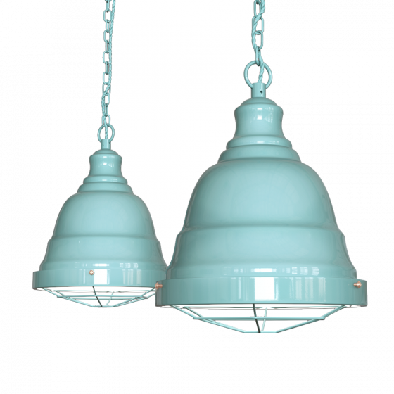Duck Egg Blue Turquoise Vintage Cage Landing Pendant Light - Ganton - Soho Lighting