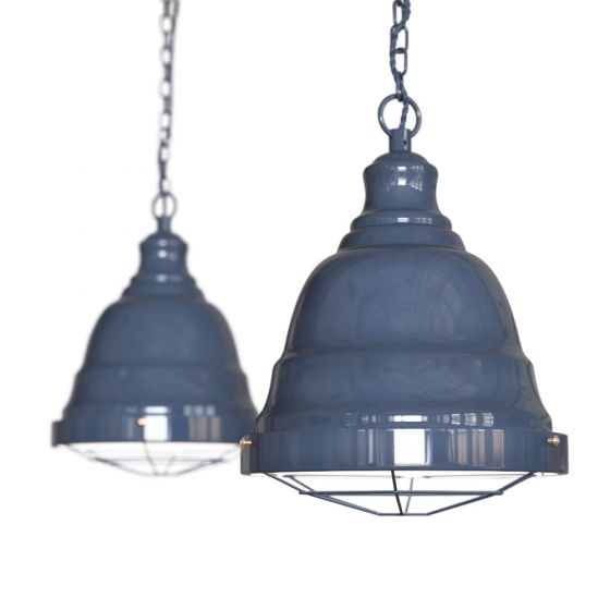 Leaden Grey Slate Vintage Cage Landing Pendant Light - Ganton - Soho Lighting