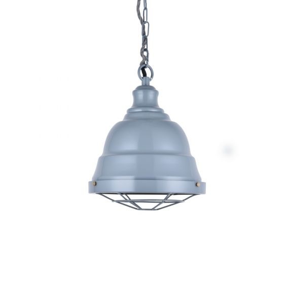 French Grey Vintage Cage Bell Landing Pendant Light - Ganton - Soho Lighting