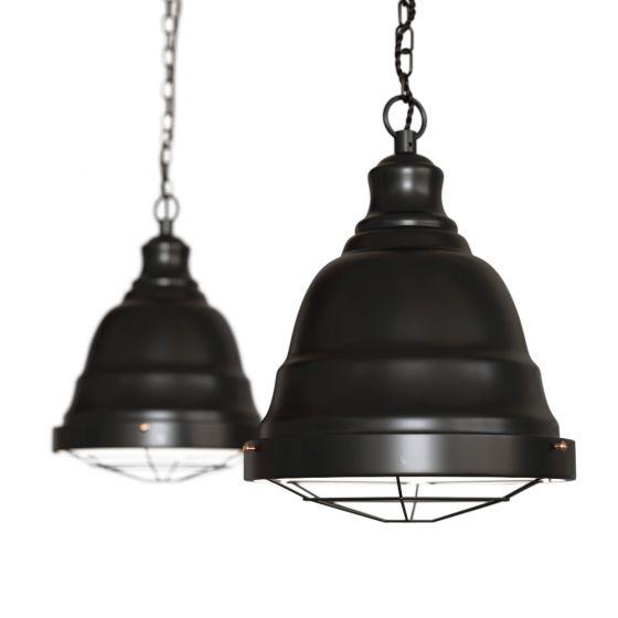 Matt Black Vintage Cage Landing Pendant Light - Ganton - Soho Lighting