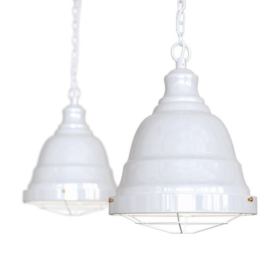 white industrial pendant light