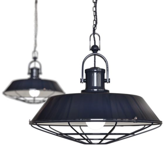 Brewer Cage Industrial Kitchen Island Pendant Light Squid Ink Navy Blue - Soho Lighting