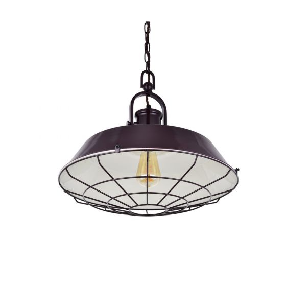 Brewer Cage Industrial  Pendant Light Mulberry Red