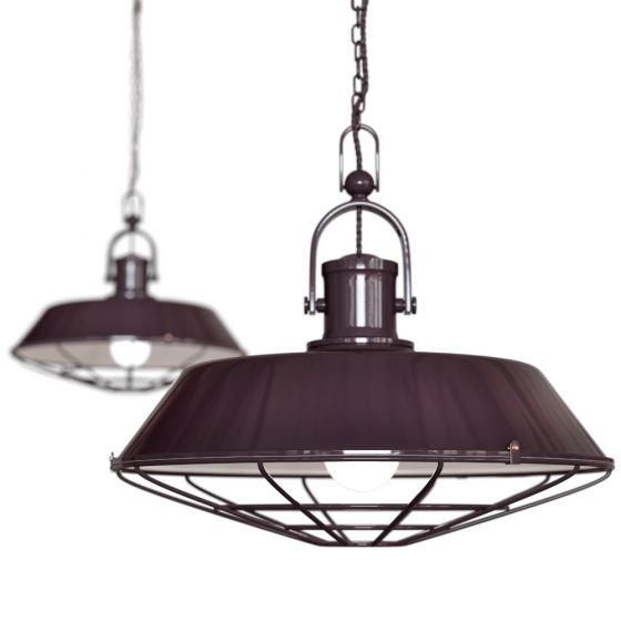 Mulberry Red Burgundy Cage Industrial Kitchen Island Pendant Light - Brewer - Soho Lighting