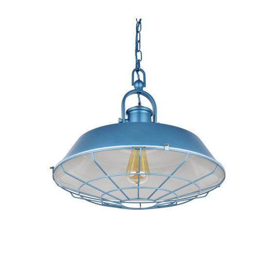 Brewer Cage Industrial  Pendant Light Aston Blue