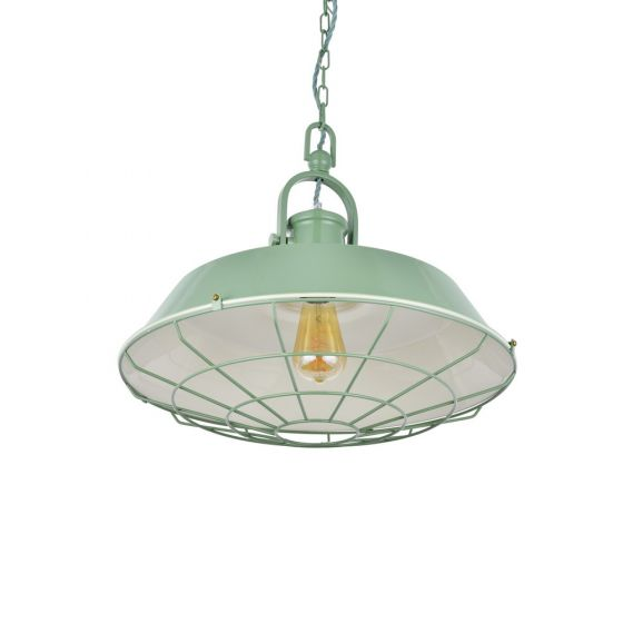 Brewer Cage Industrial  Pendant Light Chalk Green