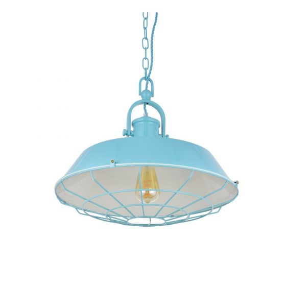 Brewer Cage Industrial  Pendant Light Duck Egg Blue