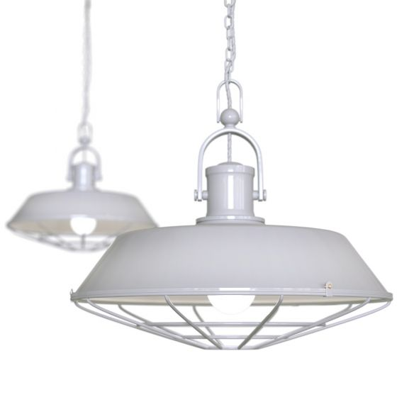 Pale Grey Caged Industrial Kitchen Island Kitchen Island Pendant Light - Brewer Cage - Soho Lighting