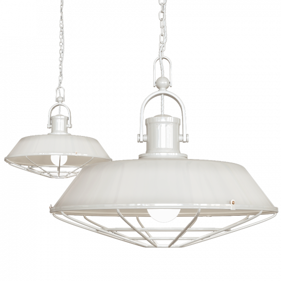Clay White Cream Cage Industrial Kitchen Island Pendant Light - Brewer - Soho Lighting