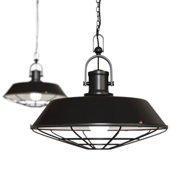 Matt Black Cage Industrial Kitchen Island Pendant Light - Brewer Cage - Soho Lighting