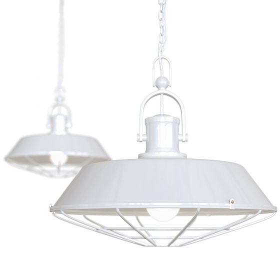 Pure White Cage Industrial Kitchen Island Pendant Light - Brewer Cage - Soho Lighting