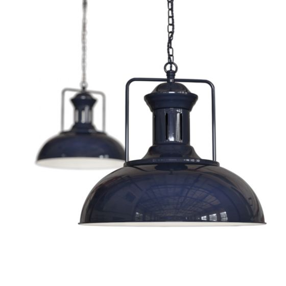 Regent Vintage Kitchen Pendant Light Squid Ink Navy Blue - Soho Lighting