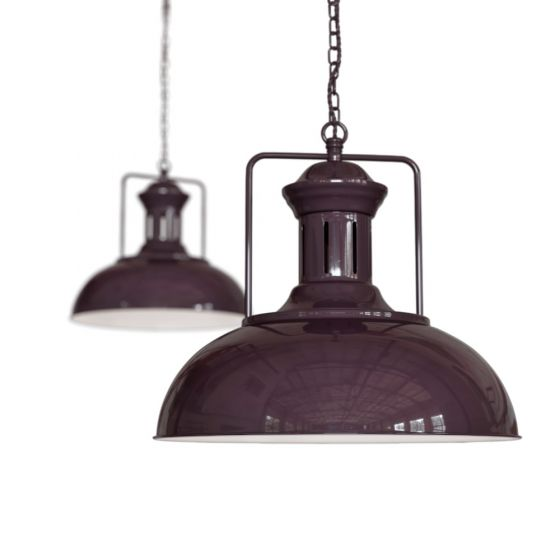 Mulberry Red Burgundy Vintage Kitchen Pendant Light - Regent - Soho Lighting