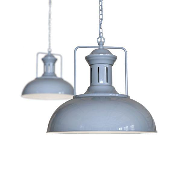 French Grey Vintage Kitchen Pendant Light Regent - Soho Lighting