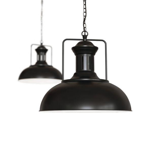Matt Black Vintage Kitchen Pendant Light - Regent - Soho Lighting