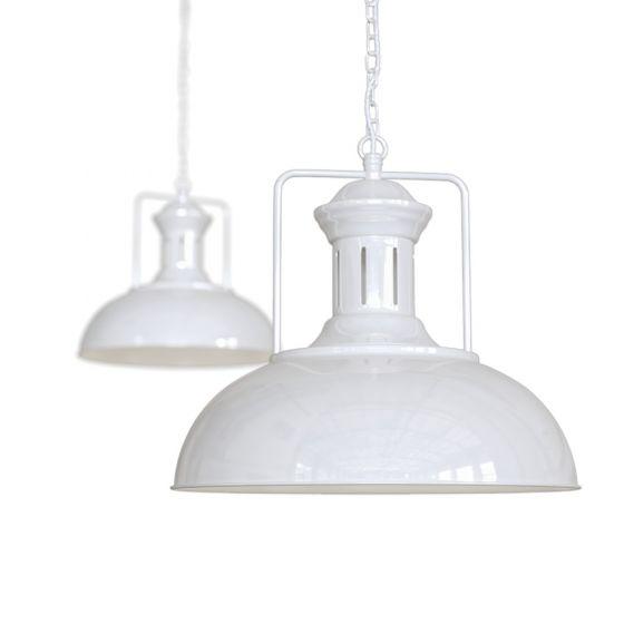 Pure White Vintage Kitchen Island Pendant Light - Regent - Soho Lighting