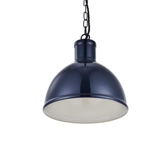 Wardour Industrial Bay Pendant Light Squid Ink Blue