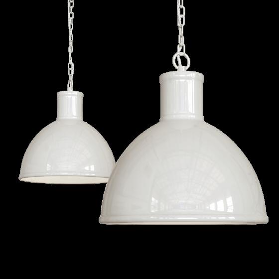 Clay White Cream Industrial Hallway Pendant Light - Wardour - Soho Lighting
