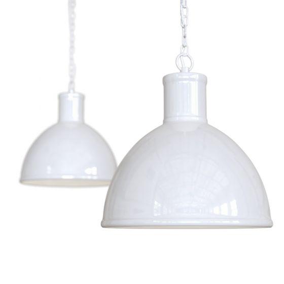 Pure White Industrial Hallway Pendant Light - Wardour - Soho Lighting