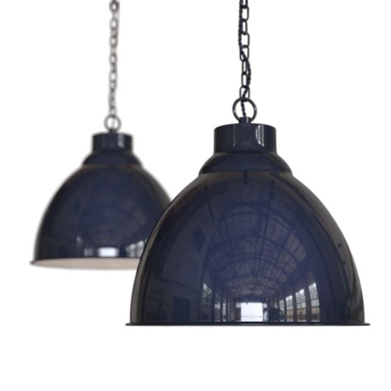 Oxford Vintage Pendant Light Squid Ink Navy Blue with Chain - Soho Lighting