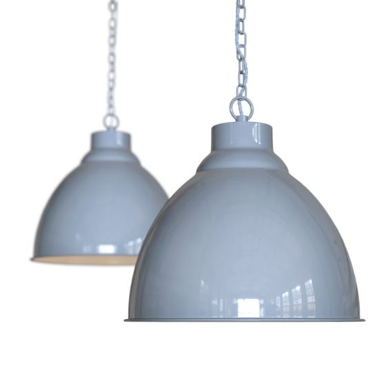 French Grey Vintage Long Drop Pendant Light - Oxford - Soho Lighting