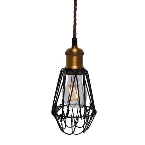 Denman Industrial Vintage Brass Caged Teardrop Pendant Light - Soho Lighting