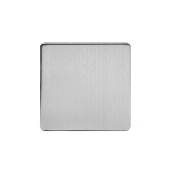 Soho Lighting Brushed Chrome metal 1 Gang Blanking Plate Screwless