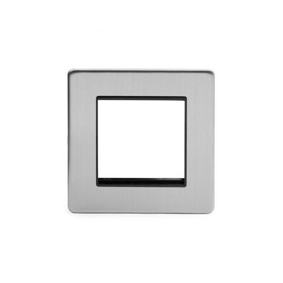 Soho Lighting Brushed Chrome Black Insert 2 x25mm EM-Euro Module Faceplate
