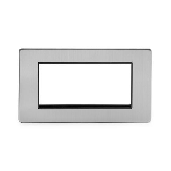 Soho Lighting Brushed Chrome 2 Gang Euro Module Faceplate Blk Ins Screwless