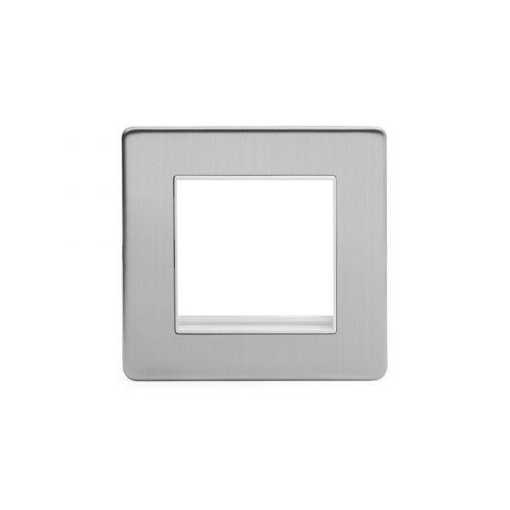 Soho Lighting Brushed Chrome 1 Gang Euro Module Faceplate Wht Ins Screwless