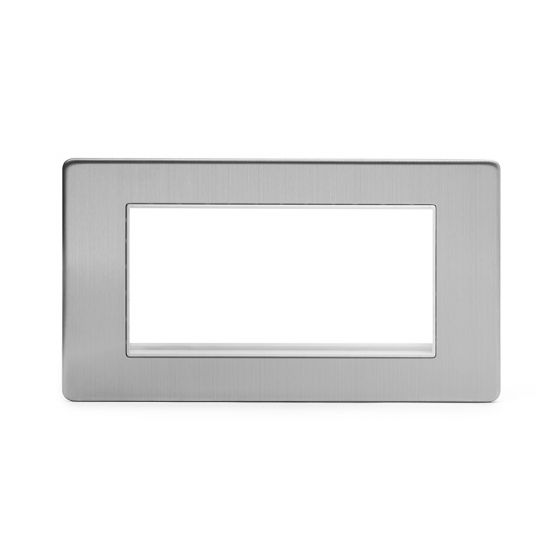 Soho Lighting Brushed Chrome 2 Gang Euro Module Faceplate Wht Ins Screwless
