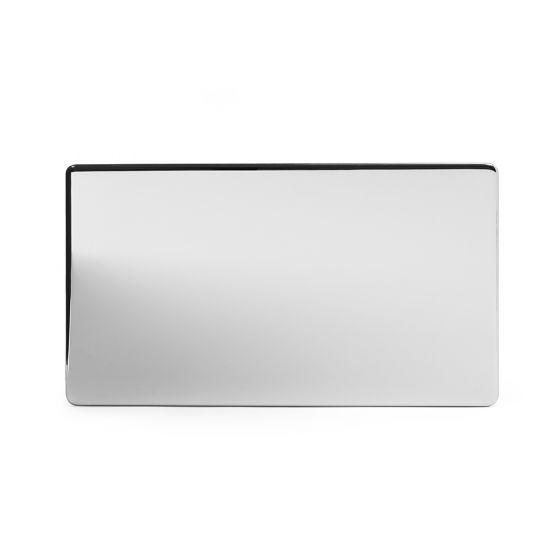 Soho Lighting Polished Chrome metal 2 Gang Blanking Plate Screwless