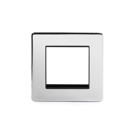 Soho Lighting Polished Chrome 1 Gang Euro Module Faceplate Blk Ins Screwless