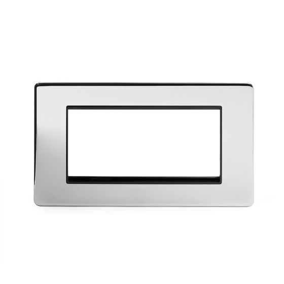 Soho Lighting Polished Chrome 2 Gang Euro Module Faceplate Blk Ins Screwless