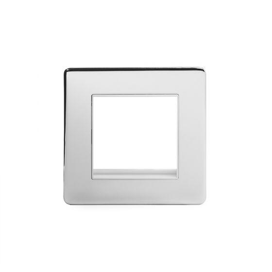 Soho Lighting Polished Chrome 1 Gang Euro Module Faceplate Wht Ins Screwless