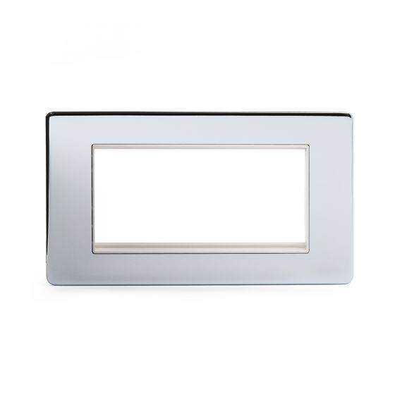 Soho Lighting Polished Chrome 2 Gang Euro Module Faceplate Wht Ins Screwless