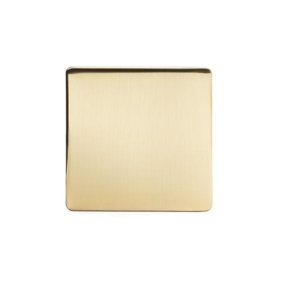 Soho Lighting Brushed Brass metal 1 Gang Blanking Plate Screwless