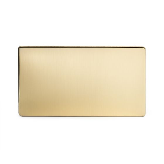 Soho Lighting Brushed Brass metal 2 Gang Blanking Plate Screwless