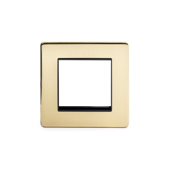 Soho Lighting Brushed Brass 1 Gang Euro Module Faceplate Blk Ins Screwless