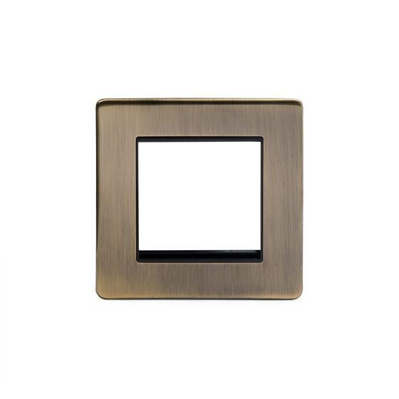 Soho Lighting Antique Brass 1 Gang Euro Module Faceplate Blk Ins Screwless