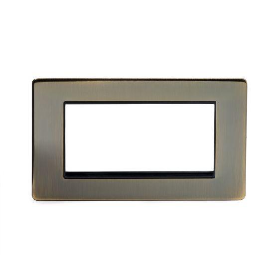 Soho Lighting Antique Brass 4 x25mm EM-Euro Module Faceplate